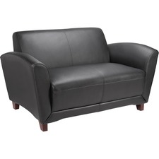 "Lorell Bonded Reception Loveseat Sofa - 55.0"" x 34.5\"" x 31.3\"" - Leather Black Seat"