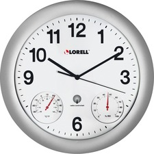 LLR 61000 Lorell Analog Temperature/Humidity Wall Clock LLR61000