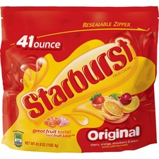 Starburst Original Fruit Chews Candy Bag - 2 lb. 9 oz. - Cherry, Lemon, Orange, Strawberry - Resealable Zipper, Individually Wrapped - 2.56 lb - 1 / Bag
