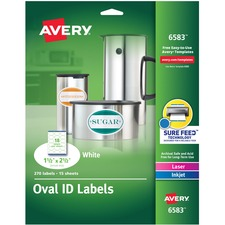 AVE 6583 Avery Printable Permanent Multipurpose Oval Labels AVE6583
