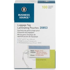 BSN 20853 Bus. Source Clear Laminating Luggage Tag Pouch BSN20853