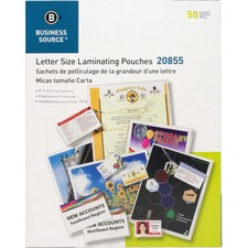 """Business Source 5 mil Clear Laminating Pouches - Laminating Pouch/Sheet Size: 9"""" Width x 11.50"""" Length x 5 mil Thickness - for Photo, Document, ID Badge, Recipe - Pre-trimmed - Clear - 50 / Box"""
