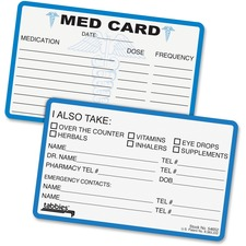 TAB 54652 Tabbies Medical Information Cards TAB54652