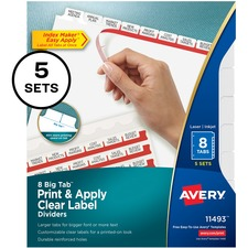 AVE 11493 Avery Big Tab Clear Label Index Maker Dividers AVE11493