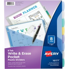 AVE 16177 Avery Translucent Write-On Dividers w/Pockets AVE16177