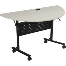 """Lorell Flipper Training Table - Half-round Top - 48"""" Table Top Length x 24"""" Table Top Width x 1"""" Table Top Thickness - 29.50"""" Height - Assembly Required"""