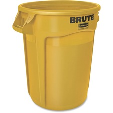 """Rubbermaid Commercial Brute Round Container - 32 gal Capacity - Round - Heavy Duty, Handle, Tear Resistant, Damage Resistant, Durable, UV Coated, Fade Resistant, Warp Resistant, Crack Resistant, Crush Resistant - 27.8"""" Height x 21.9"""" Width x 21.9"""" Diameter - Yellow"""