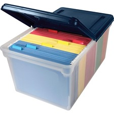 "Advantus File Storage Box - Letter - External Dimensions 10.81"" Height x 23\"" Width x 14.12\"" Depth - Plastic - Clear, Navy"