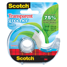 MMM 39 3M Scotch Transparent Greener Tape w/ Dispenser MMM39