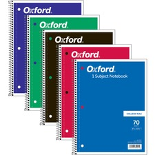 "TOPS One-subject Wirebound Notebook - 70 Sheets - Wire Bound - 10 1/2"" x 8"" - 0.3"" x 8""10.5"" - Assorted Paper - Red, Black, Blue, Green, Purple Cover - Card Stock Cover - Perforated - 1Each"