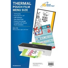 "RF03MENU0100 Menu Size (12"" x 18"") 3mil Thermal Laminating Pouches in a 100 Pack"