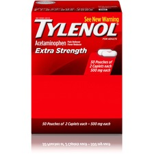 Tylenol Extra Strength Caplets - For Headache, Fever, Muscular Pain, Backache, Arthritis, Common Cold, Toothache, Premenstrual Cramp, Menstrual Cramp - 50 / Box - 2 Per Packet