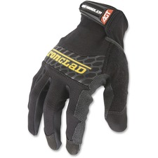 Ironclad Box Handler Industrial Gloves - Large Size - Stretchable, Breathable - Silicone, Neoprene, Terrycloth, Thermoplastic Rubber (TPR) - 2 Pair - Black