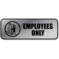 """COSCO Employees Only Sign - """"Employees Only"""" - 9"""" Width x 3"""" Height - Metal - Silver, Black, Metallic"""