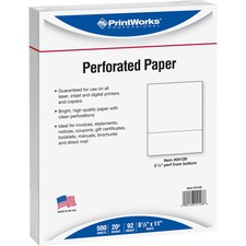 "PRB 04128 Paris Bus. Prod. 3-1/2"" Bottom Perforated Paper PRB04128"
