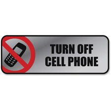"COSCO Turn Off Cell Phone Image/Message Sign - ""Turn Off Cell Phone"" - 9"" Width x 3"" Height - Metal - Silver, Red, Metallic"