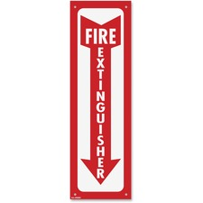 "COSCO Fire Extinguisher Sign - ""Fire Extinguisher"" - 4"" Width x 13"" Height - Plastic - Red, White"