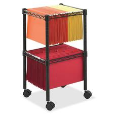 SAF 5221BL Safco Mobile Wire 2-Tier Compact File Cart SAF5221BL