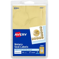 AVE 05868 Avery Print or Write Gold Notrarial Labels AVE05868