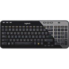 Logitech K360 Wireless Keyboard - Wireless Connectivity - RF - 2.40 GHz - USB Interface - PC - AA Battery Size Supported - Black