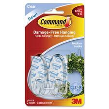 Command Hook 17091CLR, 2 Medium Hooks, 4 Clear Strips Clear