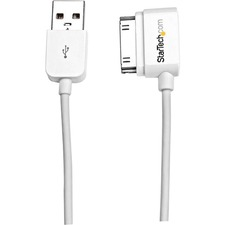 StarTech.com 2m (6 ft) USB Left Angle Cable for iPhone / iPod / iPad with Stepped Connector