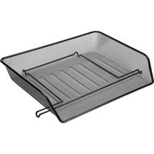 """Lorell Side-loading Steel Mesh Letter Tray - 3"""" Height x 14.3"""" Width x 10.8"""" Depth - Black - Steel - 1Set"""