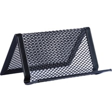 "Lorell Black Mesh/Wire Business Card Holder - 1.8"" x 3.9"" x 2.8"" x - Steel - 1 Each - Black"