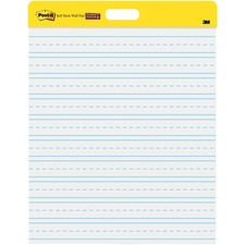 "Post-it Self-Stick Wall Pad, 20 inx 23 in, White - 20 Sheets - Stapled - Ruled Blue Margin - 18.50 lb Basis Weight - 20"" x 23"" - White Paper - Self-adhesive, Bleed Resistant, Repositionable - 2 / Pack"
