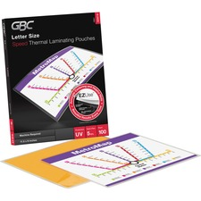 """Swingline GBC Fusion EZUse Laminating Pouches, Letter Size, Speed Pouch, 5 mil, 100 Pack - Letter - 8.75\"""" Width x 11.75\"""" Length x 5 mil Thickness - UV Resistant - 100 / Box - Clear"""
