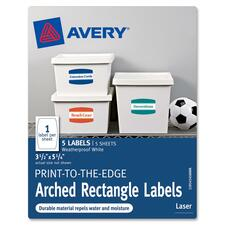 "Avery Print-to-the-Edge Arched Rectangle Labels - 5.75"" Width x 3.25\"" Length - 5 / Pack - Arch - 1/Sheet - Laser - White"