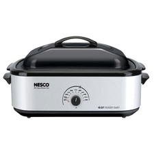 Nesco 18 Qt Roaster, Porcelain Cookwell - Silver Body