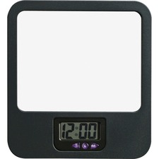 LLR 80670 Lorell Fabric Panel Digital Clock Mirror LLR80670