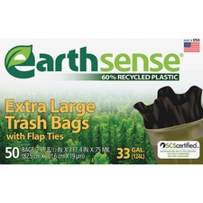WBI GES6FTL50 Webster Earth Sense 33-gal Extra Large Trash Bags WBIGES6FTL50