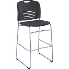 "Safco Vy Sled Base Bistro Chair - Plastic Black Seat - Plastic Black Back - Steel Powder Coated Frame - Sled Base - Black - 18"" Width x 22"" Depth x 45"" Height"