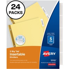AVE 11113 Avery Worksaver Big Tab Insertable Dividers Packs AVE11113