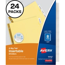 AVE 11115 Avery Worksaver Big Tab Insertable Dividers Packs AVE11115