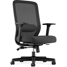 "basyx by HON HVL721 Mesh High-Back Task Chair - Fabric Black Seat - 5-star Base - 19"" Seat Width x 21.50"" Seat Depth - 26.8"" Width x 25.5"" Depth x 42.5"" Height"