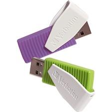 Verbatim 16GB Swivel USB Flash Drive - 2pk - Green, Violet - 16 GB - Violet, Green - 2 Pack - Swivel, Capless