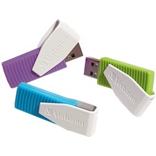 Verbatim 8GB Swivel USB Flash Drive - 3pk - Blue, Green, Violet - 8 GB - Violet, Blue, Green - 3 Pack - Swivel, Capless