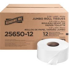 "Genuine Joe 2-ply Jumbo Roll Dispenser Bath Tissue - 2 Ply - 3.30"" x 650 ft - 8.63"" Roll Diameter - White - Nonperforated, Unscented - 12 / Carton"