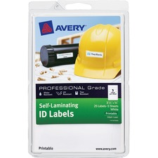 AVE 00760 Avery Laser/Inkjet Self-Laminating ID Labels AVE00760