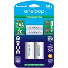 Panasonic Eneloop Rechargeable 2xAA Batteries w/ 2 C Spacers
