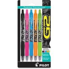 Pilot G2 Gel Pens Assorted Barrel/Ink 5-Pack - Fine Pen Point - 0.7 mm Pen Point Size - Refillable - Black, Pink, Orange, Blue, Green Gel-based Ink - Assorted Barrel - 5 / Pack