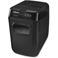 """Fellowes AutoMax® 150C Hands Free Paper Shredder - Cross Cut - 150 Per Pass - for shredding Staples, Paper Clip, Credit Card, Paper, CD, DVD, Junk Mail - 0.156"""" x 1.500"""" Shred Size - P-4 - 11 ft/min - 9"""" Throat - 10 Minute Run Time - 25 Minute Cool Down Time - 8.50 gal Wastebin Capacity - Black"""