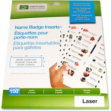 """Imprint Plus Laser/Inkjet Badge Insert - For Laser, Inkjet Print - 3"""" x 1"""" - 100 / Pack - Clear"""