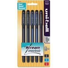 Uni-Ball 101 Jetstream Pens - Bold Pen Point Type - 1 mm Pen Point Size - Assorted Ink - 5 / Set