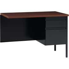 """Lorell Fortress Series Right-Pedestal Return - Rectangle Top - 1 Pedestals - 42"""" Table Top Width x 24"""" Table Top Depth x 1.12"""" Table Top Thickness - 29.50"""" Height - Assembly Required - Black Walnut, Oak Laminate - Steel"""