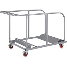 """Lorell Round Planet Table Trolley Cart - Steel - 32.8"""" Width x 52"""" Depth x 40.2"""" Height - Charcoal - For 16 Devices"""
