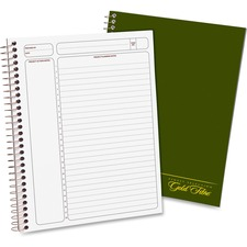 "Ampad Gold Fibre Classic Project Planner - Action - White Sheet - Wire Bound - White - Classic Green - 9.5"" Height x 7.3"" Width - Notes Area, Heavyweight, Micro Perforated, Durable Cover, Sturdy Back, Easy Tear - 1 Each"